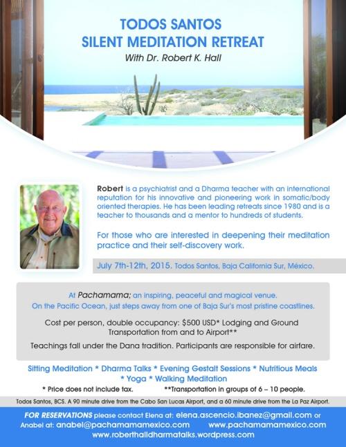 Robert K Hall Silent retreat July 2015 flyer
